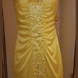 NEW YELLOW PARTIAL SEQUIN STRAPLESS DRESS (XS)